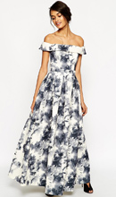 ASOS Premium Bardot Maxi Dress In Mono Floral Print