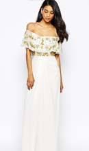 Фото Virgos Lounge Tiffany Embellished Off Shoulder Maxi Dress With Thigh Split